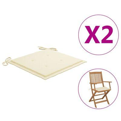 "vidaXL Garden Chair Cushions 2 pcs Cream 15.7""x15.7""x1.6"" Fabric"