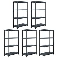 "vidaXL Storage Shelf Racks 5 pcs Black 23.6""x11.8""x54.3"" Plastic"