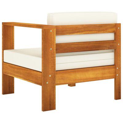 vidaXL 3-Seater Garden Sofa with Cream White Cushions Solid Acacia Wood