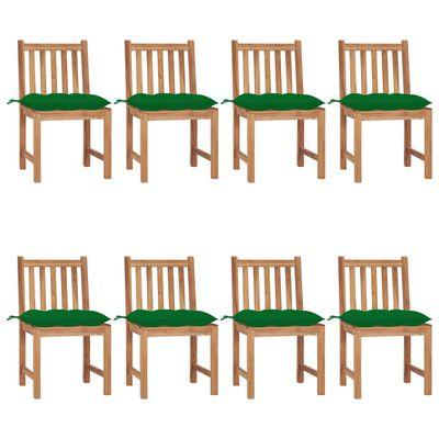 vidaXL Garden Chairs 8 pcs with Cushions Solid Teak Wood