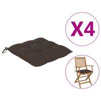 "vidaXL Chair Cushions 4 pcs Taupe 15.7x15.7""x2.8"" Fabric"""