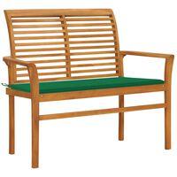 "vidaXL Garden Bench with Green Cushion 44.1"" Solid Teak Wood"