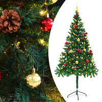 """vidaXL Artificial Christmas Tree with Baubles and LEDs Green 70.9"""""""
