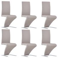 vidaXL Dining Chairs with Zigzag Shape 6 pcs Cappuccino Faux Leather