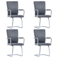 3052995 vidaXL Cantilever Dining Chairs 4 pcs Gray Faux Suede Leather