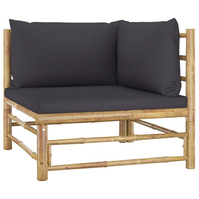 Vidaxl Garden Corner Sofa With Dark, Bamboo Patio Furniture Cushions