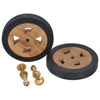vidaXL Sunlounger Spare Wheels 2 pcs Solid Teak Wood