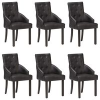 vidaXL Dining Chairs 6 pcs Black Real Goat Leather