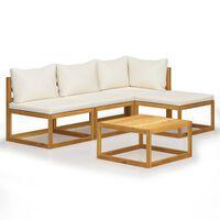 vidaXL 5 Piece Garden Lounge Set with Cushion Cream Solid Acacia Wood