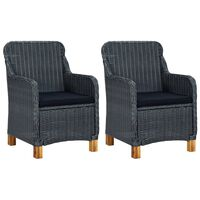 vidaXL Garden Chairs with Cushions 2 pcs Poly Rattan Dark Gray