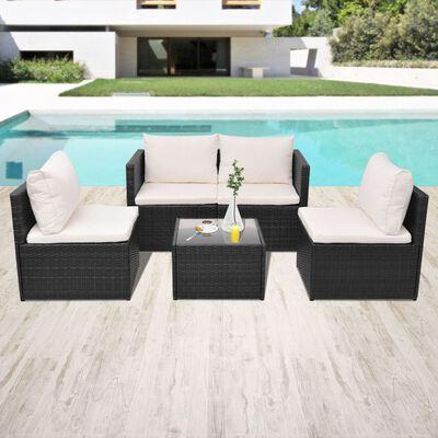 vidaXL 5 Piece Garden Lounge Set with Cushions Poly Rattan Black