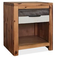 """vidaXL Bedside Table Solid Acacia Wood 15.7""""x11.8""""x18.9"""""""