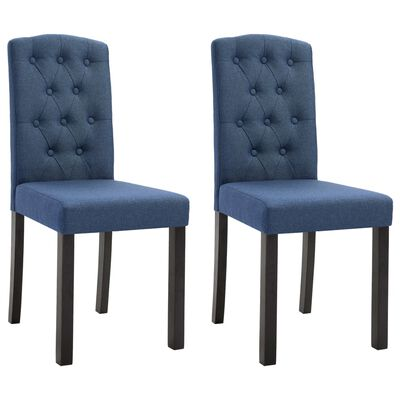 vidaXL Dining Chairs 2 pcs Blue Fabric