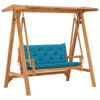 "vidaXL Swing Bench with Light Blue Cushion 66.9"" Solid Teak Wood"