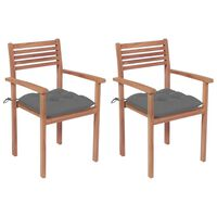 vidaXL Garden Chairs 2 pcs with Gray Cushions Solid Teak Wood