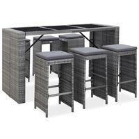 vidaXL 7 Piece Garden Bar Set with Cushions Poly Rattan Gray