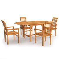 vidaXL 5 Piece Garden Dining Set Solid Teak Wood