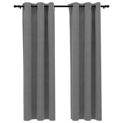 "vidaXL Blackout Curtains with Rings 2 pcs Gray 37""x95"" Velvet"