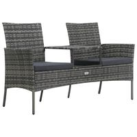 vidaXL 2-Seater Garden Sofa with Tea Table Poly Rattan Anthracite