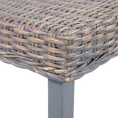 "vidaXL Bench 43.3"" Gray Natural Kubu Rattan and Solid Mango Wood"