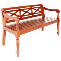 "vidaXL Batavia Bench 53.5"" Solid Mahogany Wood Dark Brown"
