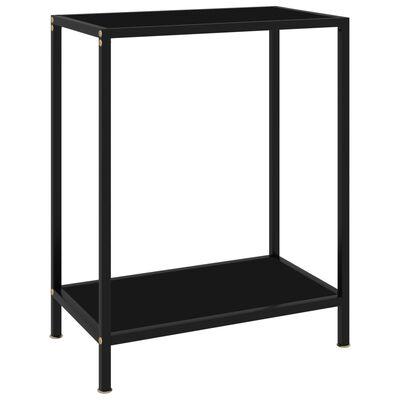 "vidaXL Console Table Black 23.6""x13.8""x29.5"" Tempered Glass"