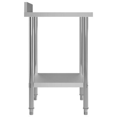 "vidaXL Kitchen Work Table with Backsplash 23.6""x23.6""x36.6"" Stainless Steel"