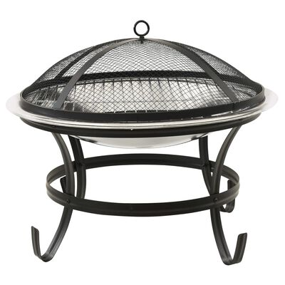 """vidaXL 2-in-1 Fire Pit and BBQ with Poker 22""""x22""""x19.3"""" Stainless Steel"""