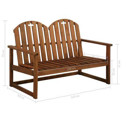 """vidaXL Garden Bench 43.3"""" Solid Acacia Wood"""