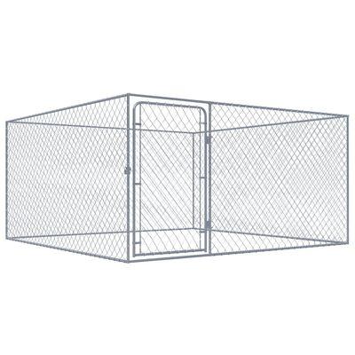 """vidaXL Outdoor Dog Kennel Galvanised Steel 72.8""""x72.8""""x39.4"""""""