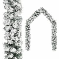 vidaXL Christmas Garland with Flocked Snow Green 32.8' PVC