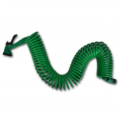 Coiled Garden Water Hose Spiral Pipe & Spray Nozzle 49.2 ft