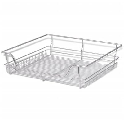 """vidaXL Pull-Out Wire Baskets 2 pcs Silver 23.6"""""""