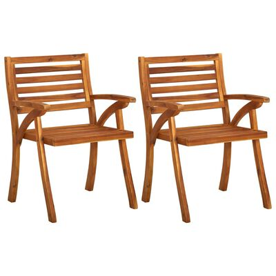 vidaXL Garden Dining Chairs with Cushions 2 pcs Solid Acacia Wood