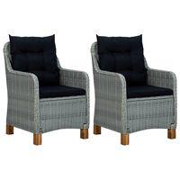 vidaXL Garden Chairs with Cushions 2 pcs Poly Rattan Light Gray