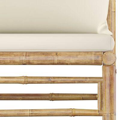 vidaXL 8 Piece Garden Lounge Set with Cream White Cushions Bamboo
