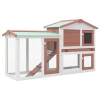 """vidaXL Outdoor Large Rabbit Hutch Brown and White 57.1""""x17.7""""x33.5"""" Wood"""