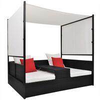 "vidaXL Garden Bed with Canopy Black 74.8""x51.2"" Poly Rattan"