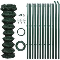 """vidaXL Chain Link Fence with Posts Steel 59.1"""" x 590.6"""" Green"""