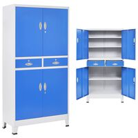 """vidaXL Office Cabinet with 4 Doors Metal 35.4""""x15.7""""x70.9"""" Gray and Blue"""