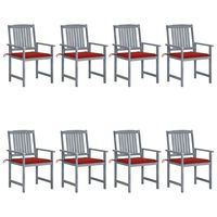 vidaXL Garden Chairs with Cushions 8 pcs Solid Acacia Wood Gray