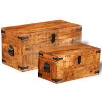 vidaXL Storage Chest Set 2 Pieces Rough Mango Wood