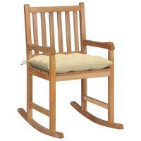 vidaXL Rocking Chair with Cream White Cushion Solid Teak Wood