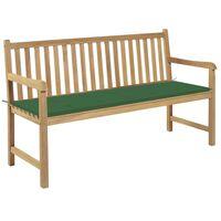 "vidaXL Garden Bench with Green Cushion 59.1"" Solid Teak Wood"