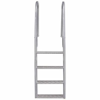 "vidaXL 4-Step Dock/Pool Ladder Aluminum 65.7"""