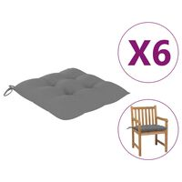 """vidaXL Chair Cushions 6 pcs Gray 19.7x19.7""""x2.8"""" Fabric"""""""