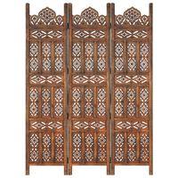 "vidaXL Hand carved 3-Panel Room Divider Brown 47.2""x65"" Solid Mango Wood"