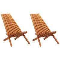vidaXL Folding Outdoor Lounge Chairs 2 pcs Solid Acacia Wood