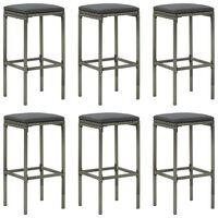 vidaXL Bar Stools with Cushions 6 pcs Gray Poly Rattan