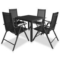vidaXL 5 Piece Outdoor Dining Set Aluminium and WPC Black
